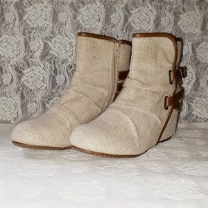 MUDD canvas wedge boots